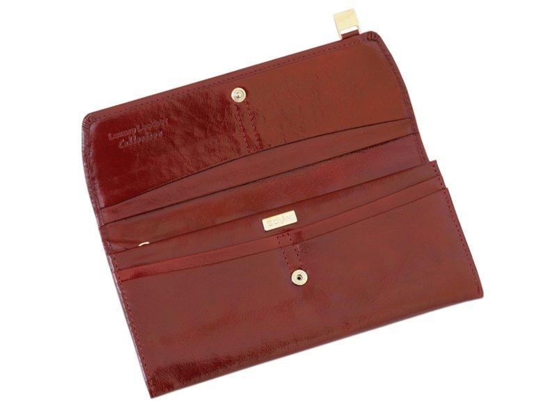 Giovani Woman Leather Wallet Swarovski Line Brown-4454