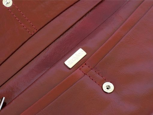 Giovani Woman Leather Wallet Swarovski Line Red-4476