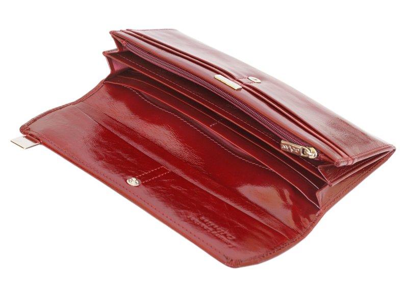 Giovani Woman Leather Wallet Swarovski Line Red-4475