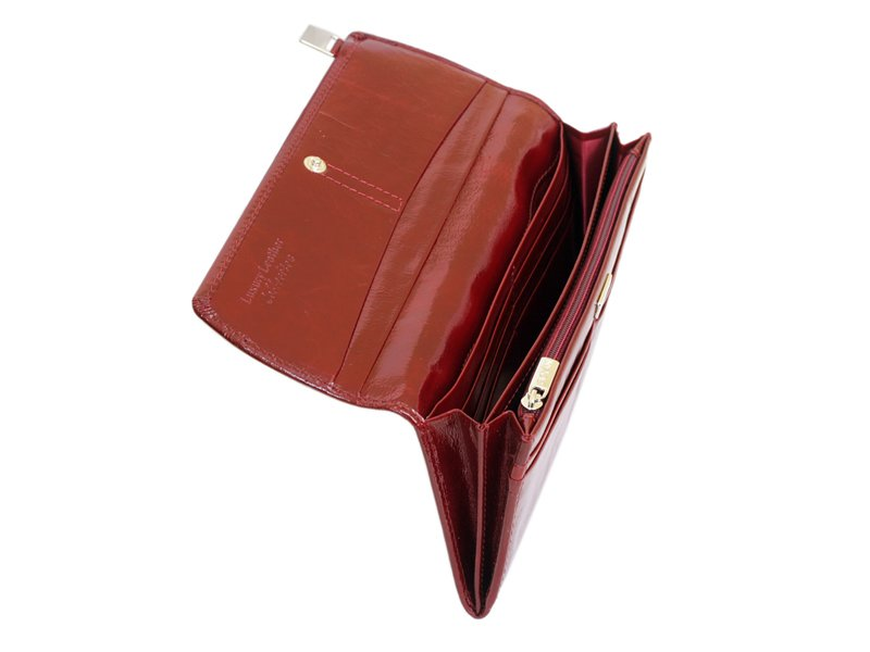 Giovani Woman Leather Wallet Swarovski Line Red-4479