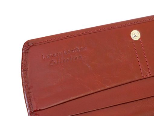 Giovani Woman Leather Wallet Swarovski Line Red-4480