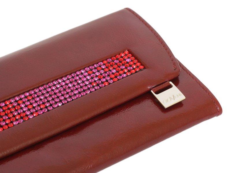 Giovani Woman Leather Wallet Swarovski Line Red-4483