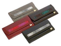 Giovani Woman Leather Wallet Swarovski Line Red-4485