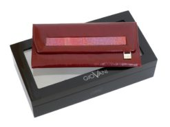 Giovani Woman Leather Wallet Swarovski Line Grey-4443