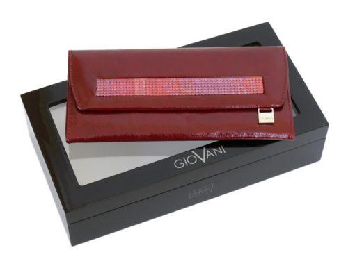 Giovani Woman Leather Wallet Swarovski Line Brown-4462