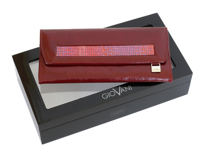 Giovani Woman Leather Wallet Swarovski Line Red-4481