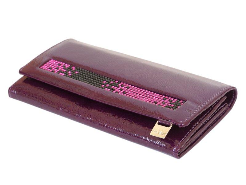 Giovani Woman Leather Wallet Swarovski Line Grey-4426