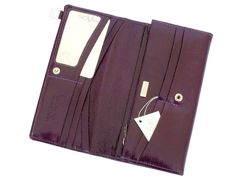 Giovani Woman Leather Wallet Swarovski Line Grey-4424