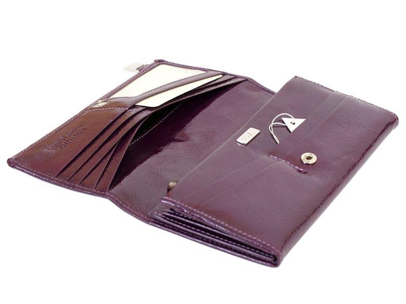 Giovani Woman Leather Wallet Swarovski Line Grey-4422