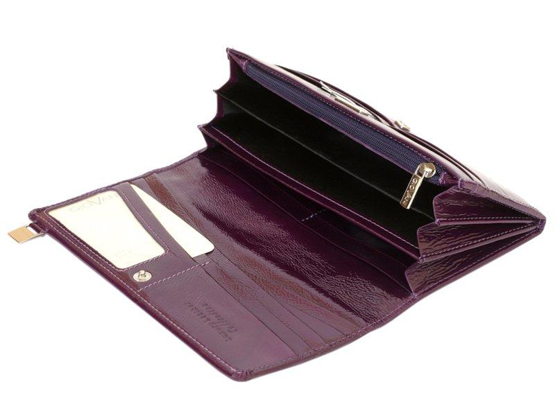 Giovani Woman Leather Wallet Swarovski Line Grey-4428