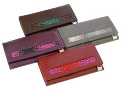 Giovani Woman Leather Wallet Swarovski Line Grey-4421