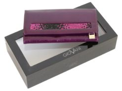 Giovani Woman Leather Wallet Swarovski Line Grey-4430