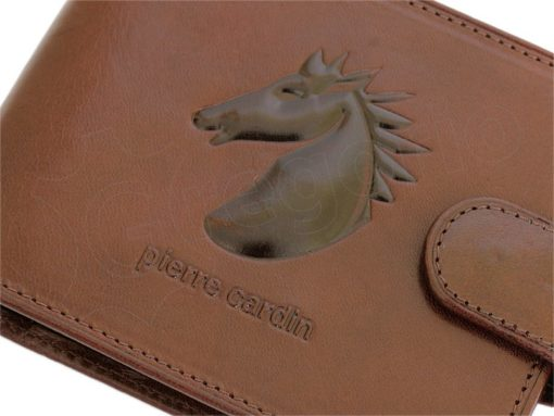 Pierre Cardin Man Leather Wallet with Horse Black-5071
