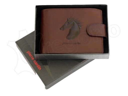 Pierre Cardin Man Leather Wallet with Horse Black-5068