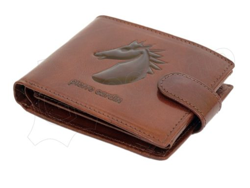 Pierre Cardin Man Leather Wallet with horse Brown-5192