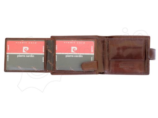 Pierre Cardin Man Leather Wallet with horse Brown-5195