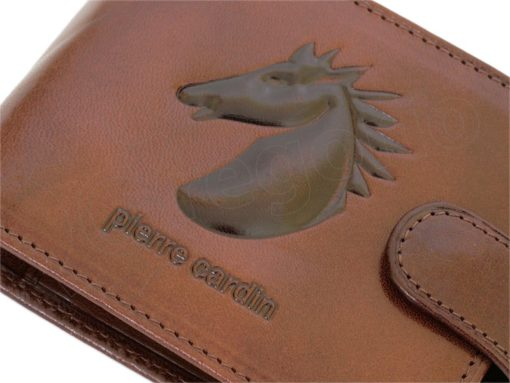 Pierre Cardin Man Leather Wallet with horse Brown-5188