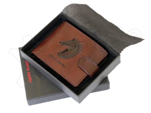 Pierre Cardin Man Leather Wallet with horse Brown-5191