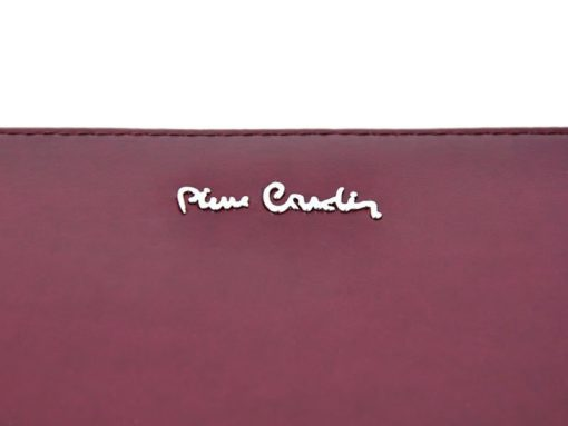 Pierre Cardin Women Leather Wallet with Zip Dark Red-5138