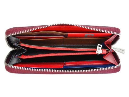 Pierre Cardin Women Leather Wallet with Zip Violet-5098