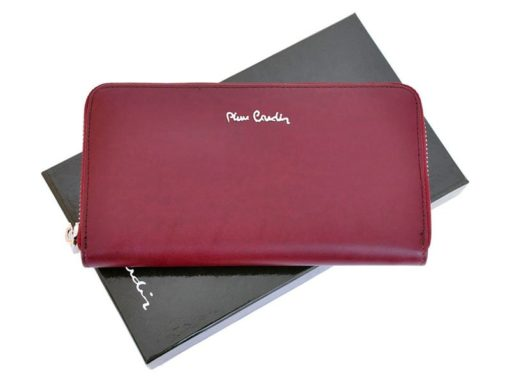 Pierre Cardin Women Leather Wallet with Zip Dark Red-5142