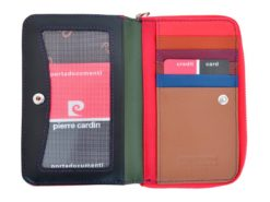 Pierre Cardin Women Leather Wallet with Zip Claret-5934