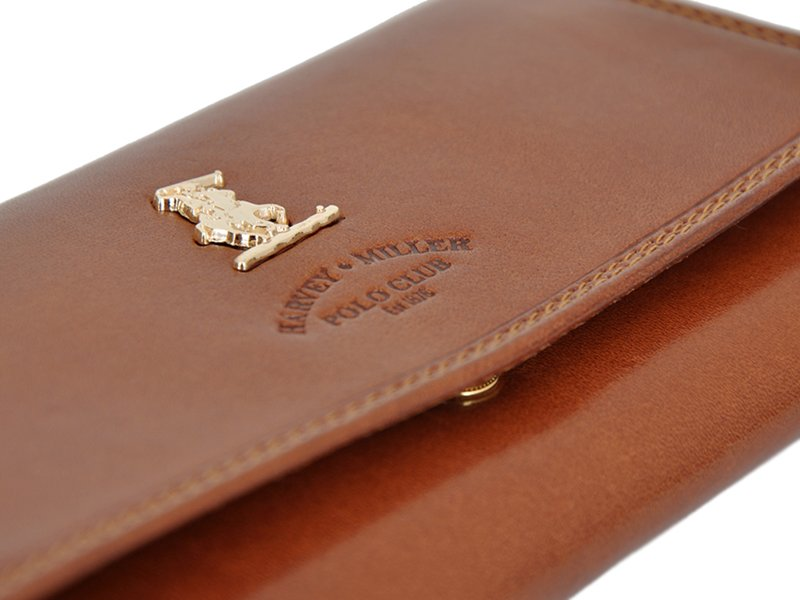 Harvey Miller Polo Club Women Leather Wallet/Purse Brown-5362