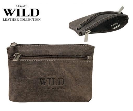 Always Wild Leather Keys Wallet Brown-7080
