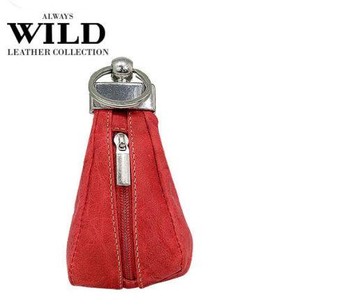 Always Wild Leather Keys Wallet Red-7076