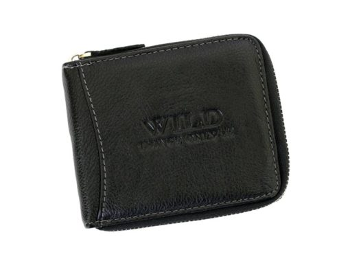 Wild Things Only Man Leahter Wallet with Zip Black-7137