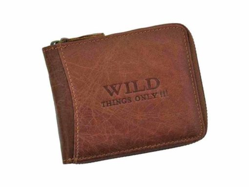 Wild Things Only Man Leahter Wallet with Zip Dark Brown-7122