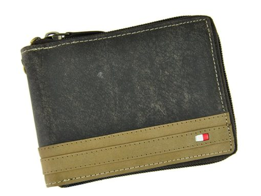 Always Wild Man Leather Wallet with zip and chain dark and light brown-7191
