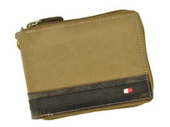Always Wild Man Leather Wallet with zip and chain dark and light brown-7183