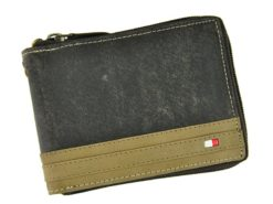 Always Wild Man Leather Wallet with zip and chain dark and light brown-7186
