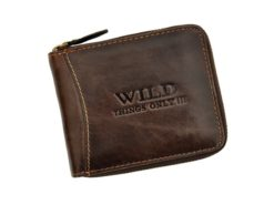 Wild Things Only Man Leahter Wallet with Zip Dark Brown-7119