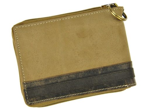 Always Wild Man Leather Wallet with zip and chain light brown and brown-7195