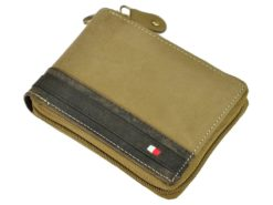 Always Wild Man Leather Wallet with zip and chain dark and light brown-7188