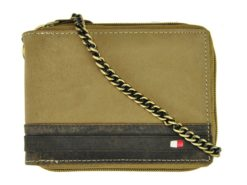 Always Wild Man Leather Wallet with zip and chain dark and light brown-7190