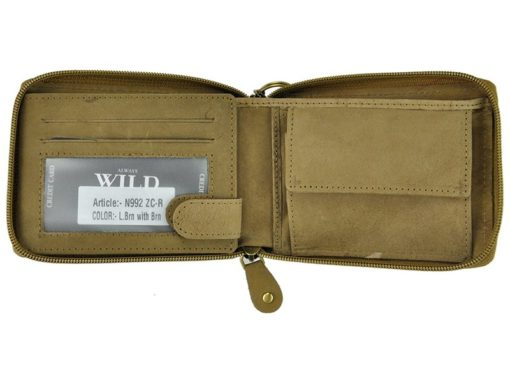 Always Wild Man Leather Wallet with zip and chain dark and light brown-7187