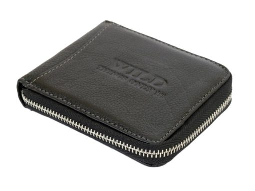 Wild Things Only Man Leahter Wallet with Zip Dark Brown-7120