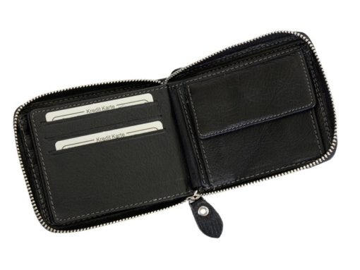 Wild Things Only Man Leahter Wallet with Zip Black-7136