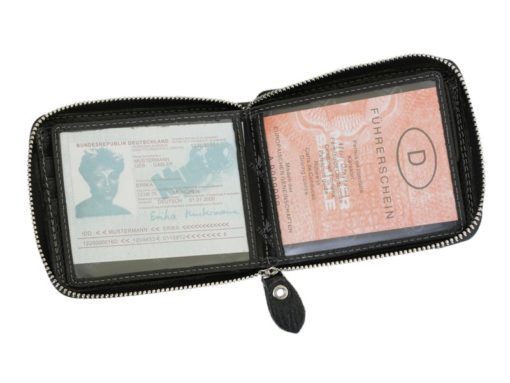 Wild Things Only Man Leahter Wallet with Zip Black-7134
