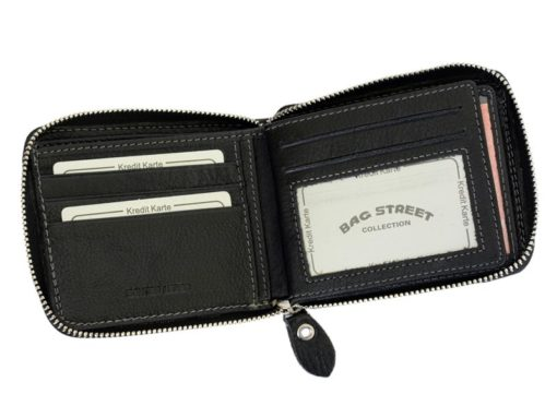 Wild Things Only Man Leahter Wallet with Zip Dark Brown-7127