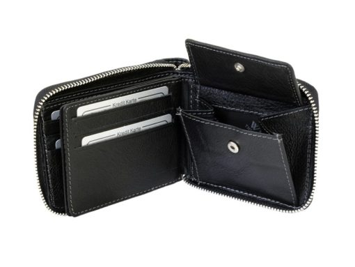 Wild Things Only Man Leahter Wallet with Zip Black-7132